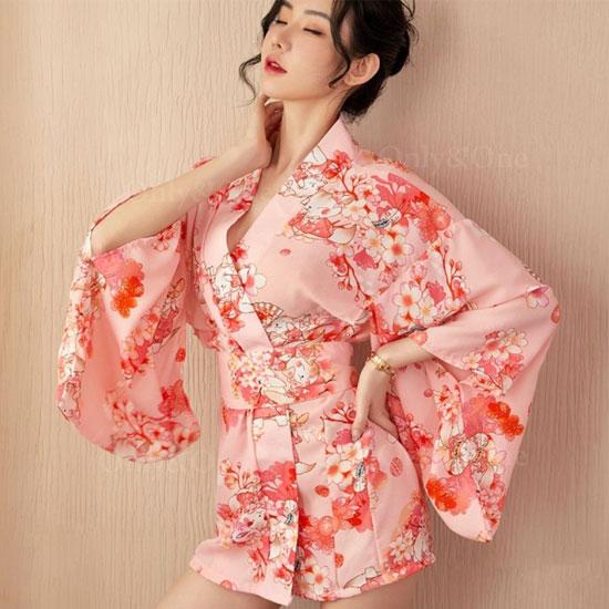 和服 浴衣 コスプレ セクシー コスチューム エロ ミニ ピンク