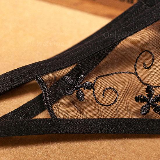 セクシー下着 オープンクロッチ 股空き 刺繍 エロショーツ 刺繍 6カラー