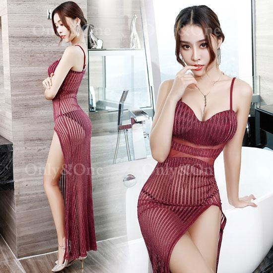 ボディコン セクシーワンピース シースルー ドレス キャバドレス パーティードレス イベントドレス フロントサイドスリットの大人ドレス