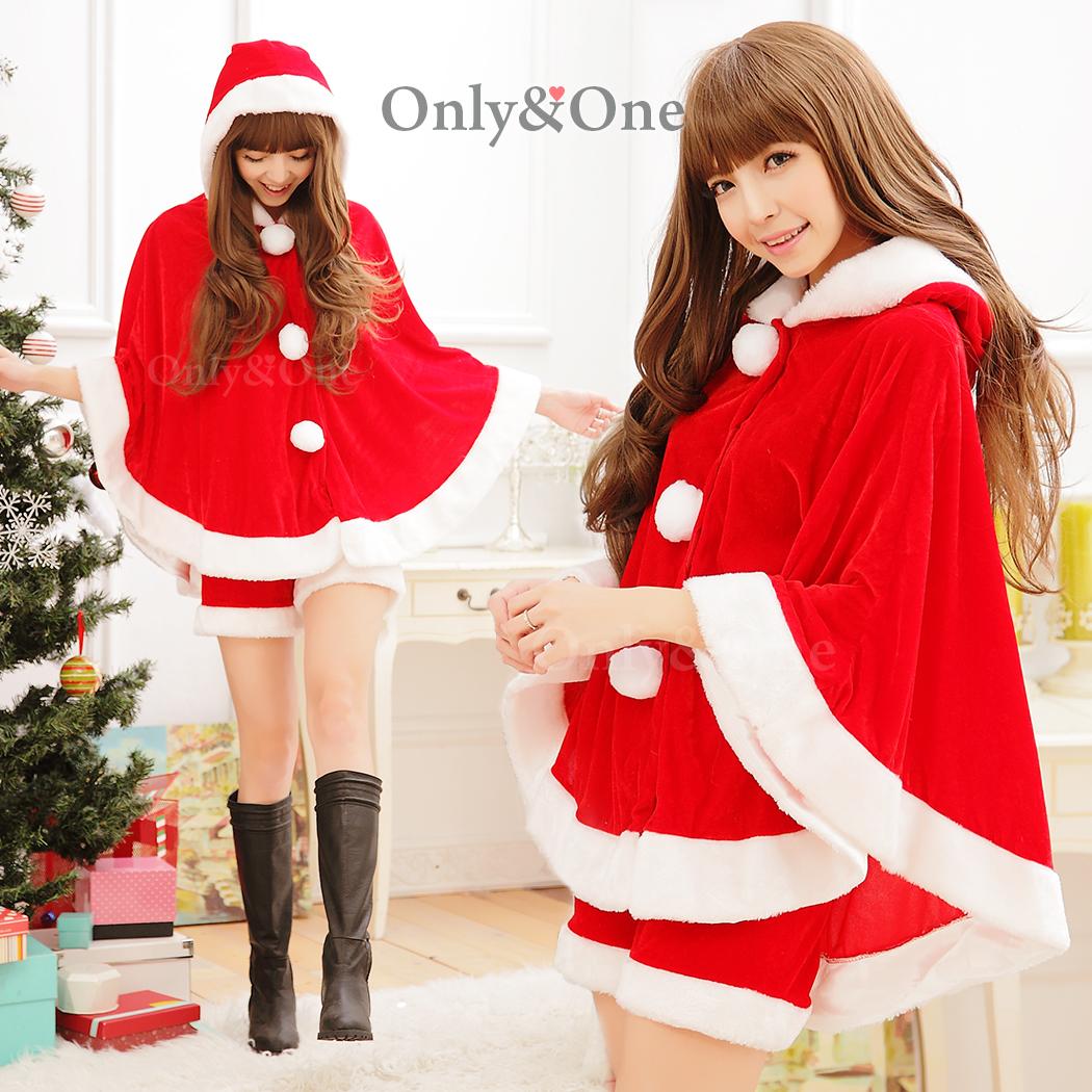 サンタコスプレ めちゃカワXmasポンチョサンタコスチューム衣装