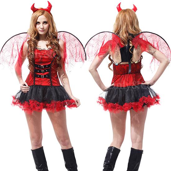 デビルコスプレ 悪魔 小悪魔 ハロウィンコスチューム衣装羽根付き