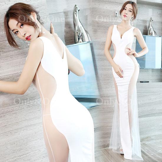 ボディコン セクシーワンピース ドレス サイドシースルー キャバドレス パーティードレス イベントドレス 大人ドレス