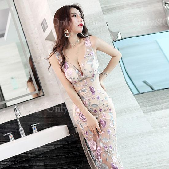 ボディコン セクシーワンピース 花柄 シースルー ドレス キャバドレス パーティードレス イベントドレス サイドスリットの大人ドレス