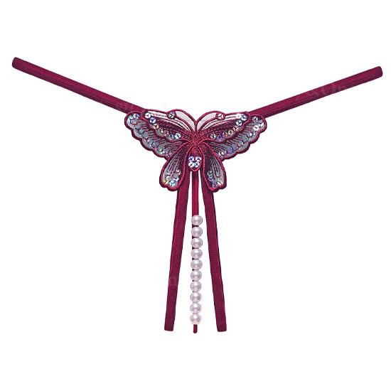セクシー下着 オープンクロッチパール Tバック サイドストリング バタフライ刺繍 エロショーツ 刺繍 8カラー