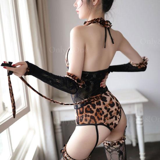 女豹 コスプレ アニマル セクシー コスチューム レース ガーターベルト しっぽ付き
