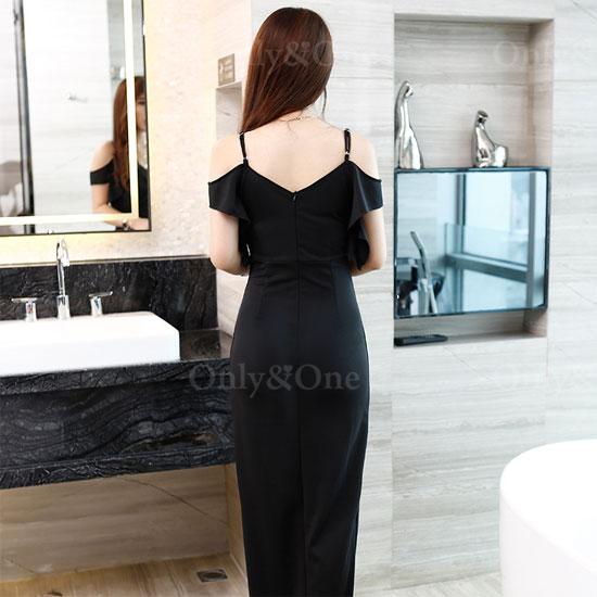 ボディコン セクシーワンピース ドレス キャバドレス キャミソール 袖あり シフォン パーティードレス イベントドレス フロントサイドスリットの大人ドレス