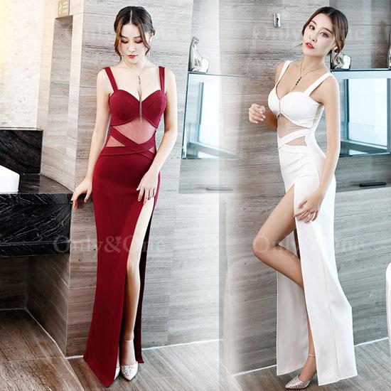 ボディコン セクシーワンピース 胸元強調ドレス キャバドレス パーティードレス イベントドレス フロントサイドスリット