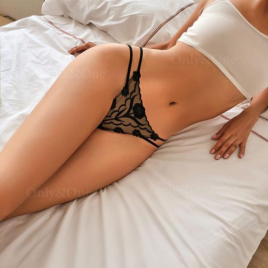 セクシー下着 ストリング バラ刺繍 スケレース エロショーツ Tバック 7カラー