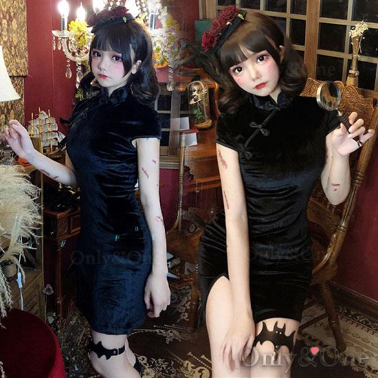 チャイナドレス ブラックチャイナ コスチューム セクシードレス ミニスリット ボディコン