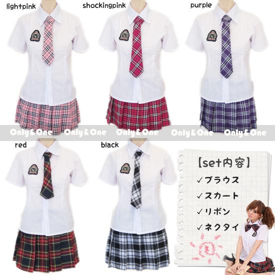 制服 コスプレ 女子高生 コスチューム ネクタイ リボン付き チェック柄 半袖