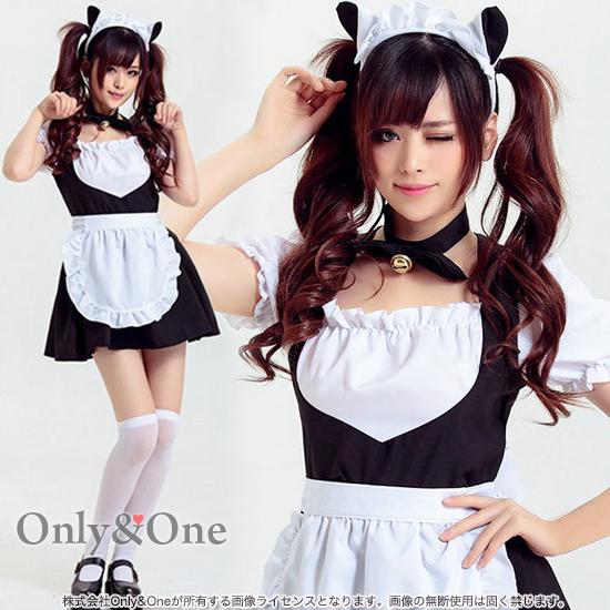 メイド コスプレ メイド服 コスチューム 衣装 定番 ブラック ネコ耳 アニマル