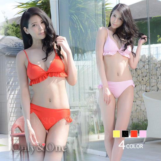 レディース水着 タンキニ トップブラ裾 ビキニ裾フレア オリジナル 4カラー