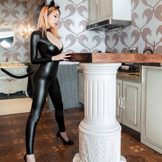 猫コスプレ キャッツボンデージ セクシーコスプレ リアルしっぽ フロント股までのチャック エロコスチューム