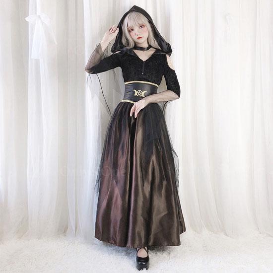 魔女コスプレ ハロウィンコスチューム ローブずきんワンピース