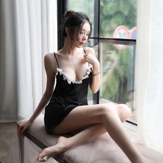 セクシー ベビードール 刺繍 スリット 2カラー