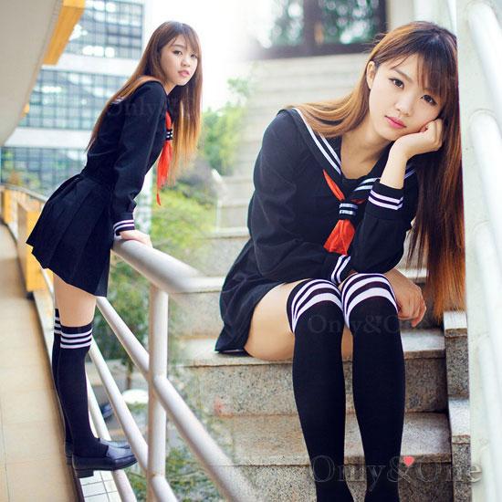 定番 セーラー服 コスプレ 女子高生 冬服 制服 JK ブラック