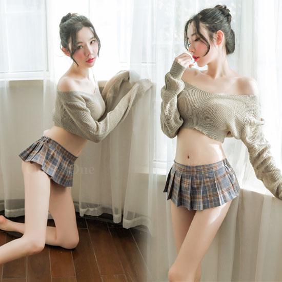 制服 女子高生 ミニニット チェックミニスカート コスチューム 3カラー
