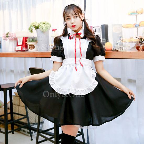 メイド コスプレ メイド服コスチューム 定番 赤紐リボン エプロン オリジナルブランド