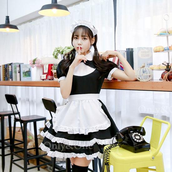 メイド コスプレ メイドコスチューム 可愛い ブラック エプロン オリジナルブランド