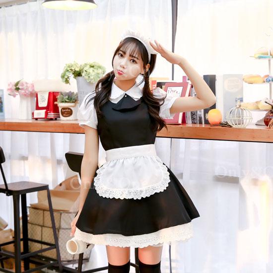 メイド コスプレ メイド服 衣装 コスチューム 清純シンプル ブラック オリジナルブランド