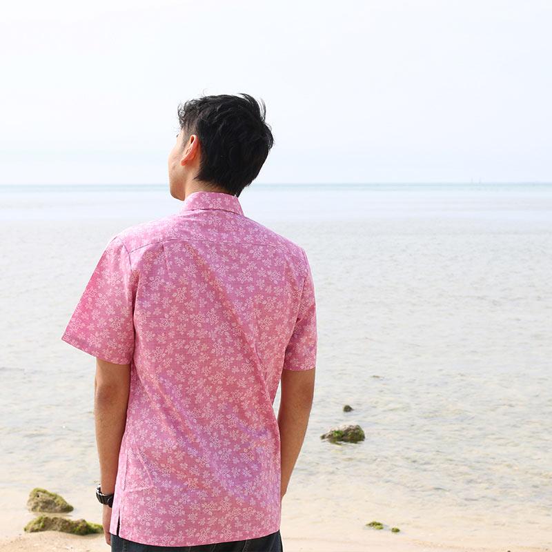 【メンズ】サンゴかりゆし (おんなの駅オリジナル かりゆしウェアー)