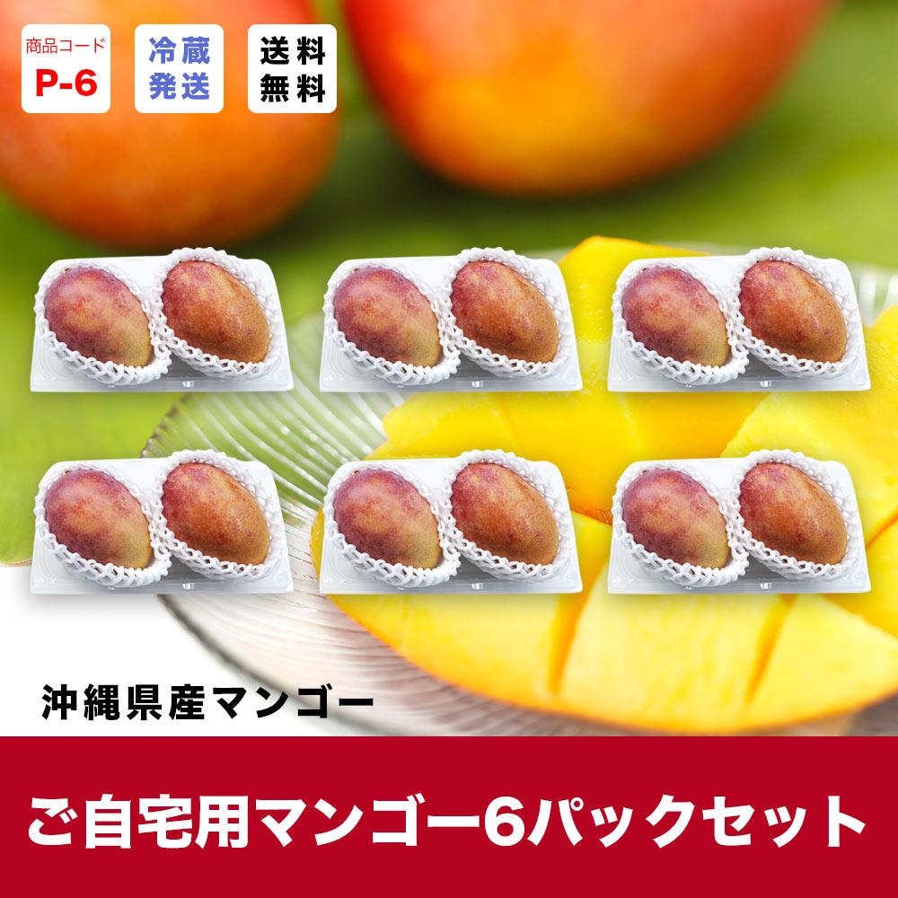 【P-6】マンゴーパック 6パックセット【送料無料】(12〜18玉入り)(発送7月-8月上旬)