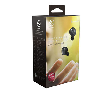【M-SOUNDS】 MS-TW2PBK [ MSTW2PBK ] ワイヤレスイヤホン 超軽量 小型 ブラック 防汗設計 Bluetooth対応