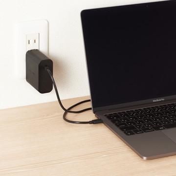 ACDC-PD0145BK [ ACDCPD0145BK ] 【エレコム】 PC電源アダプタ ノートPC用ACアダプタ- Type-C PD対応 45W ケーブル一体型 2m ブラック