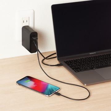 ACDC-PD0357BK [ ACDCPD0357BK ] 【エレコム】 PC電源アダプタ ノートPC用ACアダプタ- Type-C PD対応 57W ケーブル一体型 USB1ポ-ト 2m ブラック