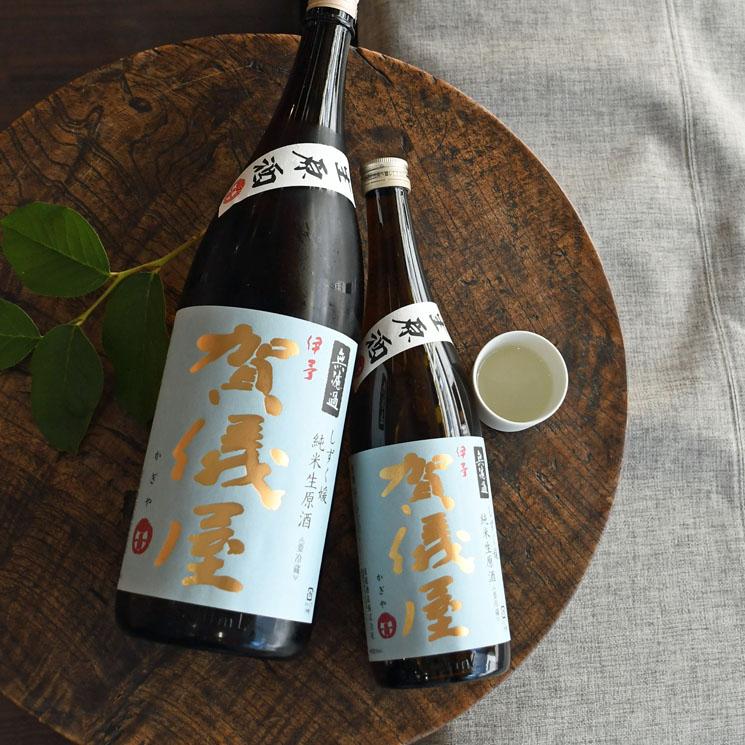【日本酒】伊予賀儀屋 無濾過 純米 生原酒 空色ラベル<1,800ml>