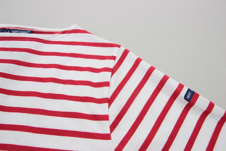 セントジェームス SAINT JAMES ピリアック 半袖 PIRIAC NEIGE/TULIPE 白 赤 ホワイト レッド