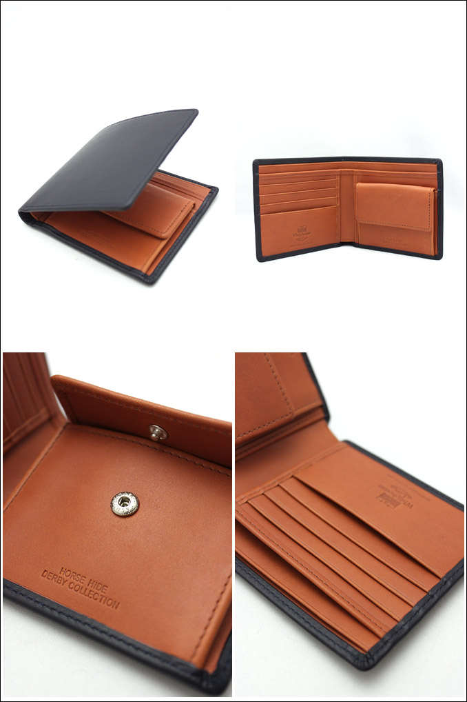 ホワイトハウスコックス ダービーコレクション 二つ折り ネイビー/タン WhitehouseCox S7532 COIN WALLET DERBY
