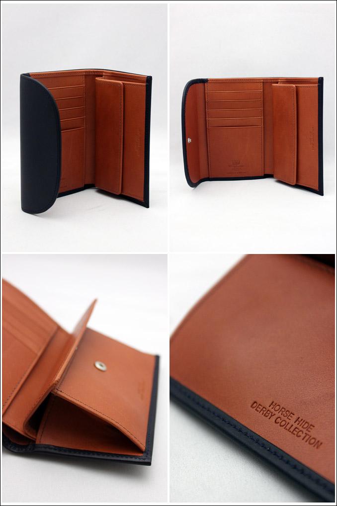 ホワイトハウスコックス ダービーコレクション 三つ折り ネイビー/タン WhitehouseCox S7660 3 FOLD PURSE DERBY