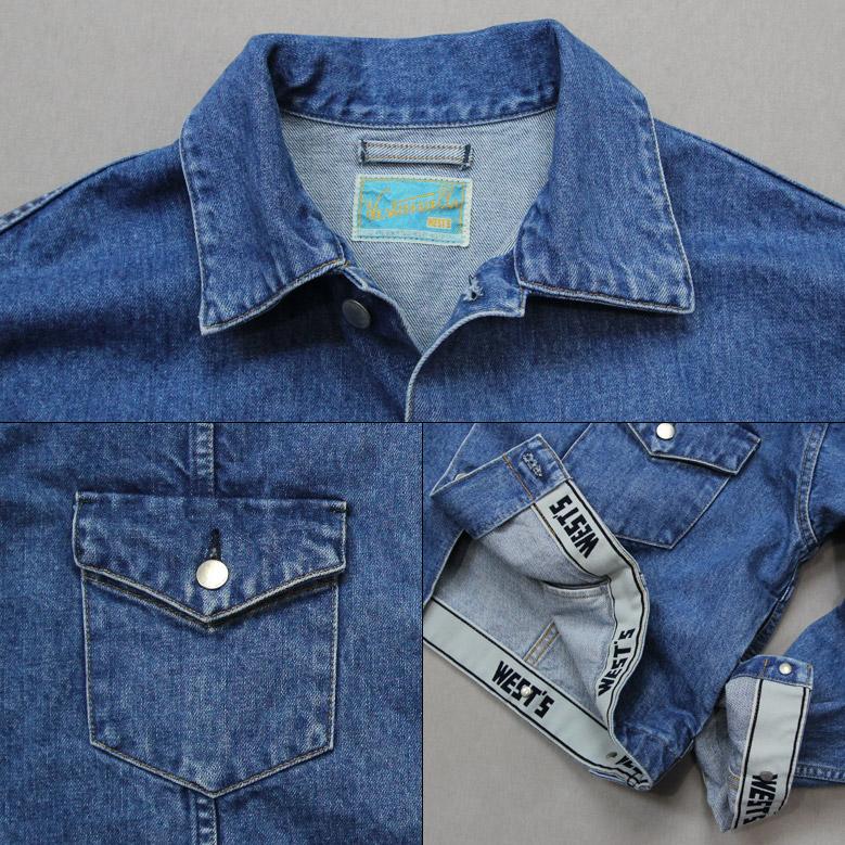 ウエストオーバーオールズ  857B デニムトラッカージャケット WESTOVERALLS DENIM TRACKER JACKET B/Blue