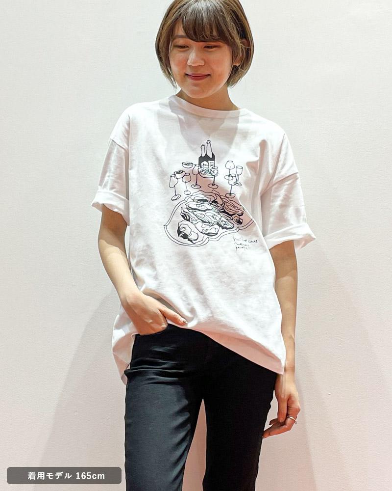 アンヌ オイスター プリントTシャツ amne H_s tee OYSTER amn-CS-015 ホワイト