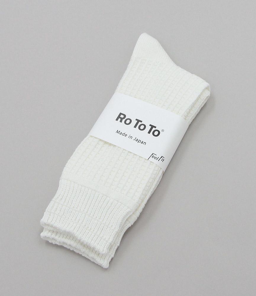 ロトト RoToTo コットンワッフルソックス ホワイト WHITE R1110