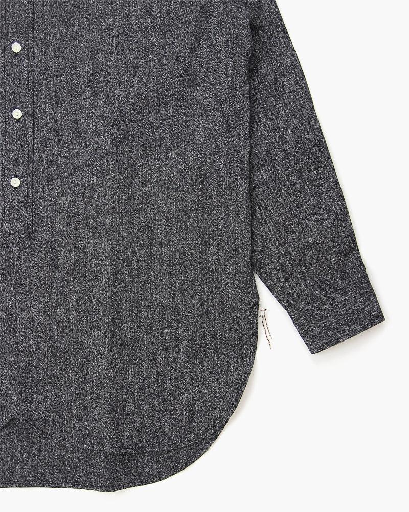 ボンクラ バンドカラーシャツ 黒杢シャンブレー BONCOURA Band Collar Shirt