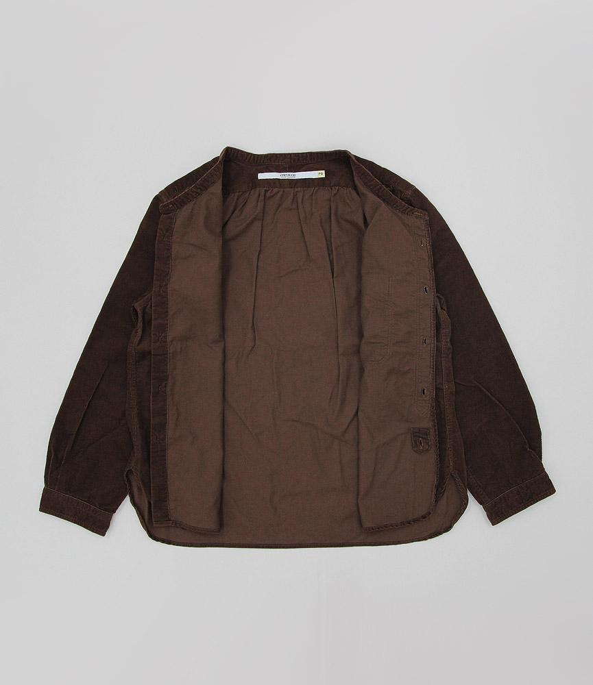 オムニゴッド シャツコールスタンドカラーシャツ OMNIGOD BROWN
