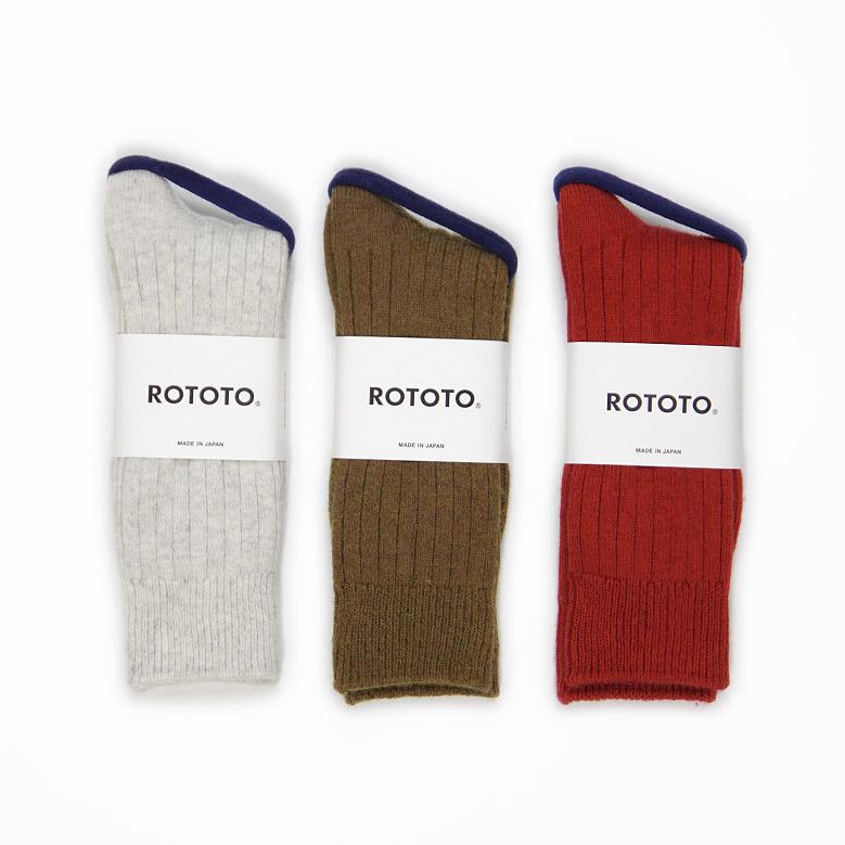 ロトト コットンウールリブクルーソックス ROTOTO Cotton Wool Ribbed Crew Socks R1327