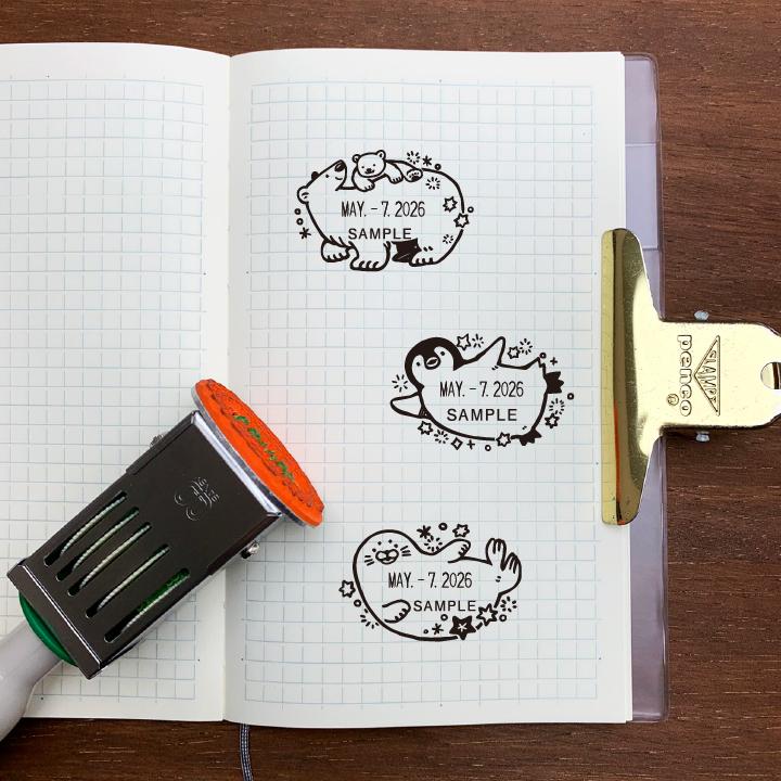 澄ノしおさん監修 日付回転印(しろくまの親子) ゴム印製 サンビー 12号小判 テクノタッチデーター 日付印