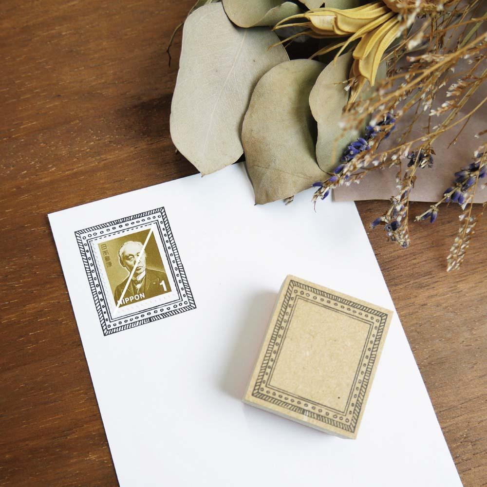 切手フレーム(額縁) ゴム印 (a-071)