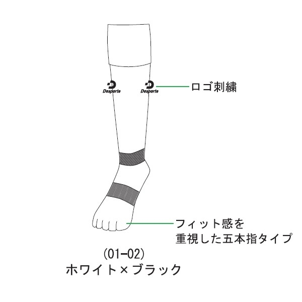 五本指ストッキング(リブ編み)(01-02ホワイト×ブラック)25-27cm・Desporte(デスポルチ)DSP-FST01