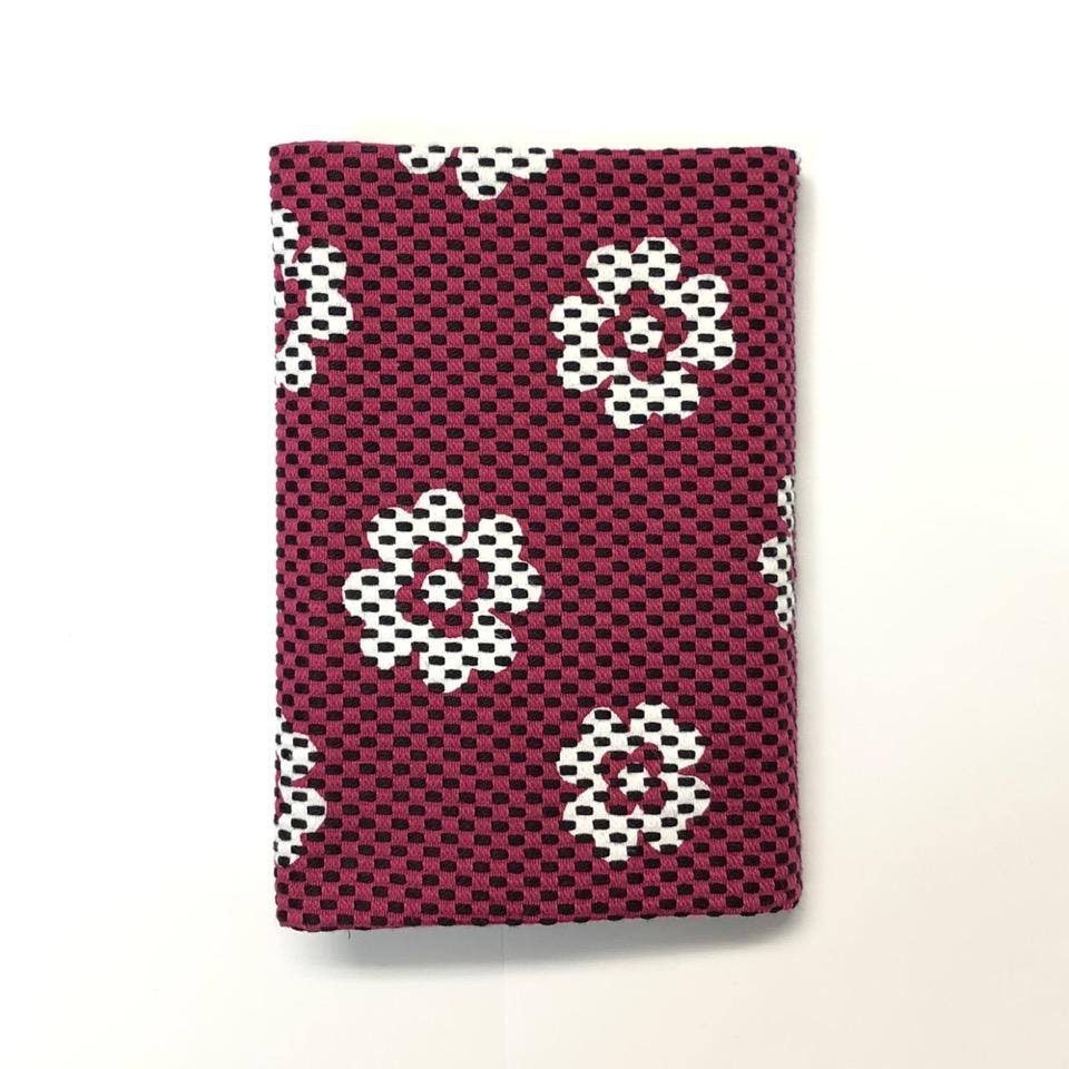 刺子織ブックカバー(文庫本) クローバー/紫