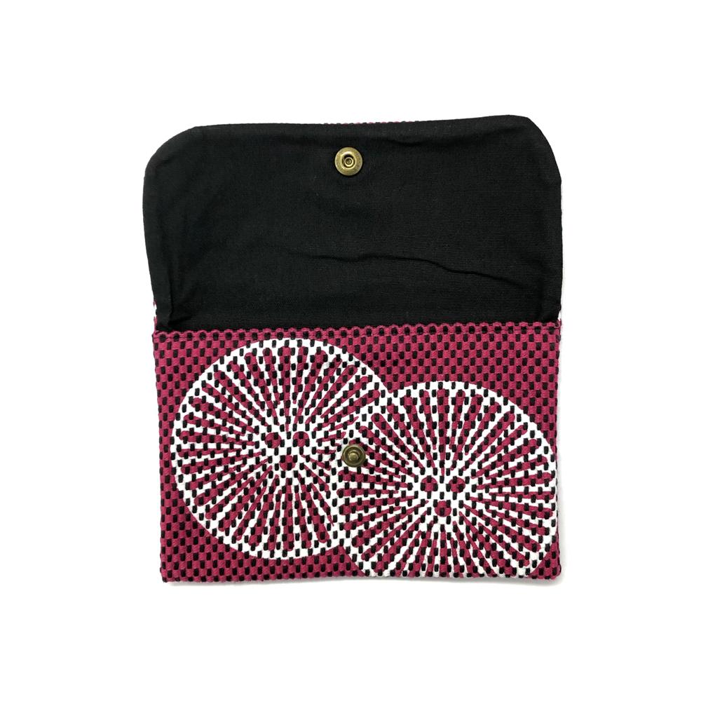 刺子織通帳ケース 重ね松/紫