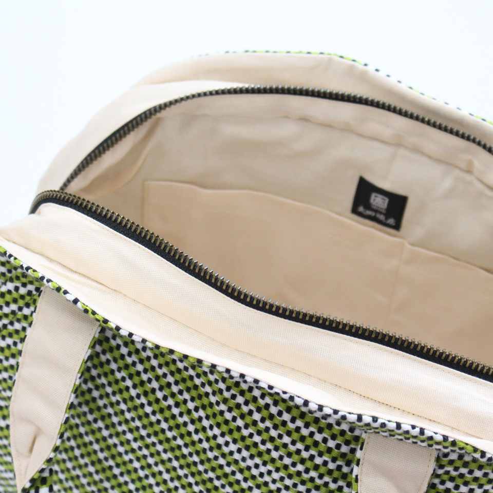 【新作】刺子織マリーバッグ フランス縞 / 深緑