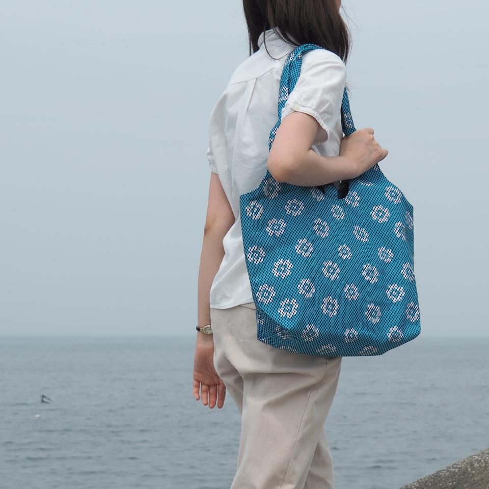 【新作】刺子織フェミニンバッグ フランス縞 / 薄緑
