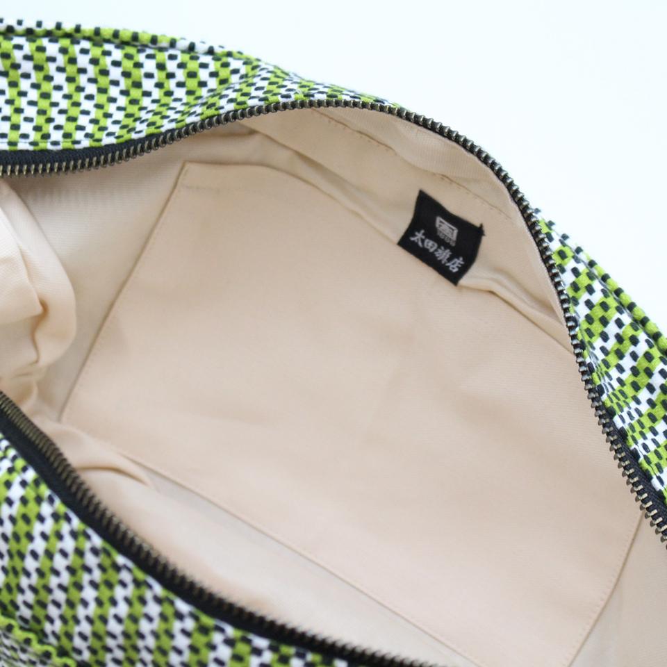 【新作】刺子織三日月バッグ フランス縞 / 薄青