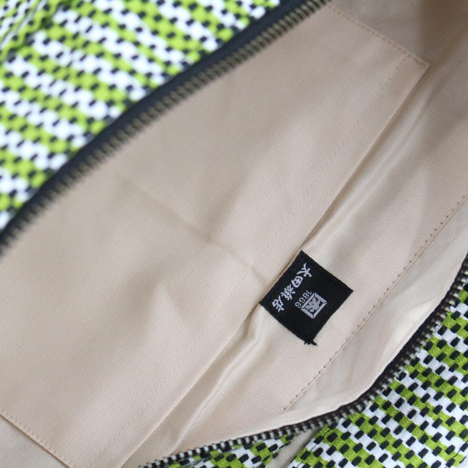 【新作】刺子織三日月バッグ フランス縞 / 薄ピンク