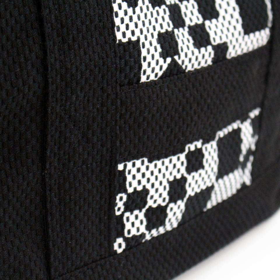 刺子織2Wayバッグ 市松(中)/黒×無地/黒