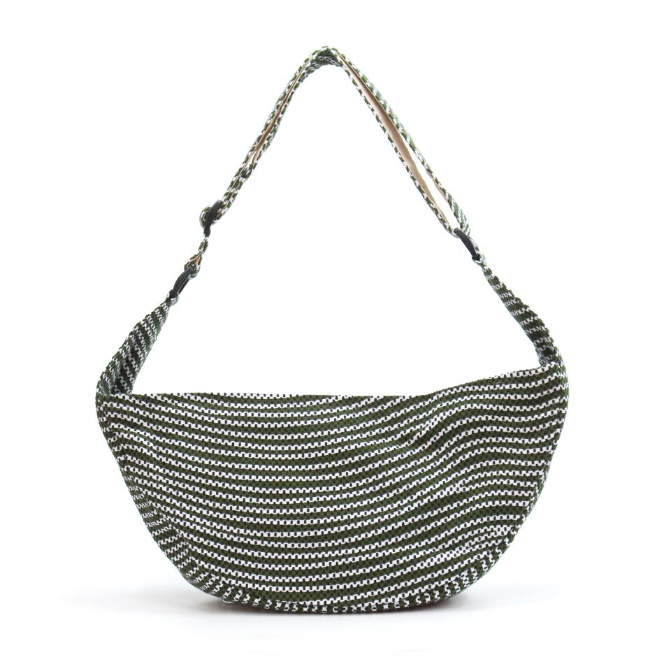【新作】刺子織三日月バッグ フランス縞 / 深緑